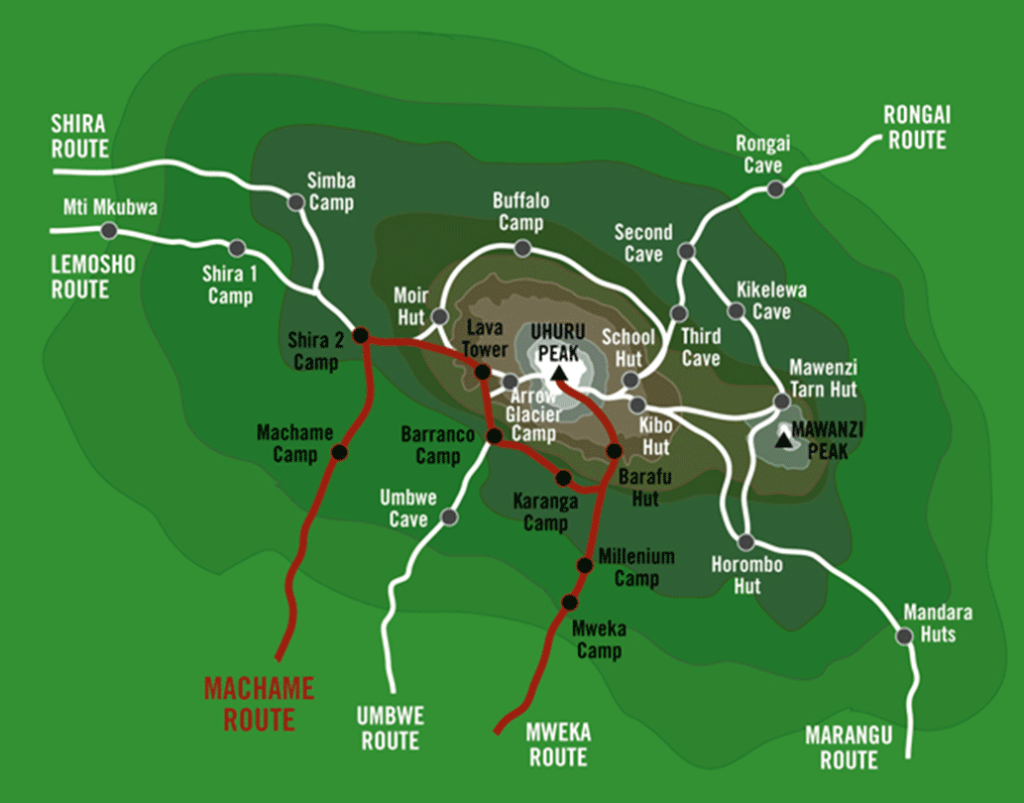 Machame-route-map