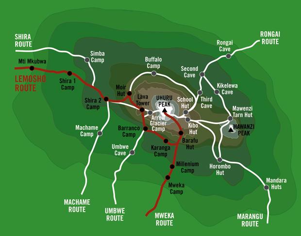 lemosho-route-map